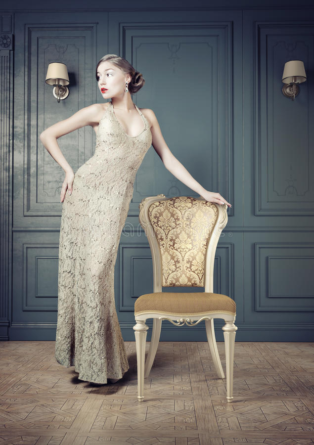 Retrato retro da mulher fotografia de stock royalty free