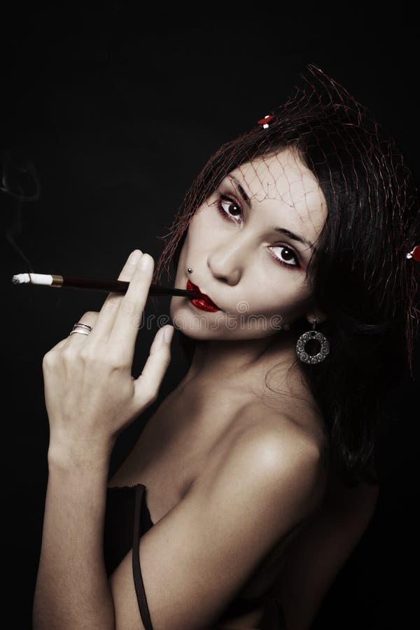 Retrato retro da mulher nova bonita Estilo japonês fotos de stock royalty free