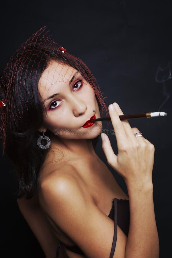 Retrato retro da mulher nova bonita Estilo japonês imagens de stock
