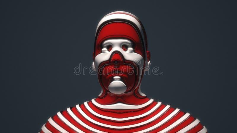 Retrato roto ser humano principal ilustración del vector