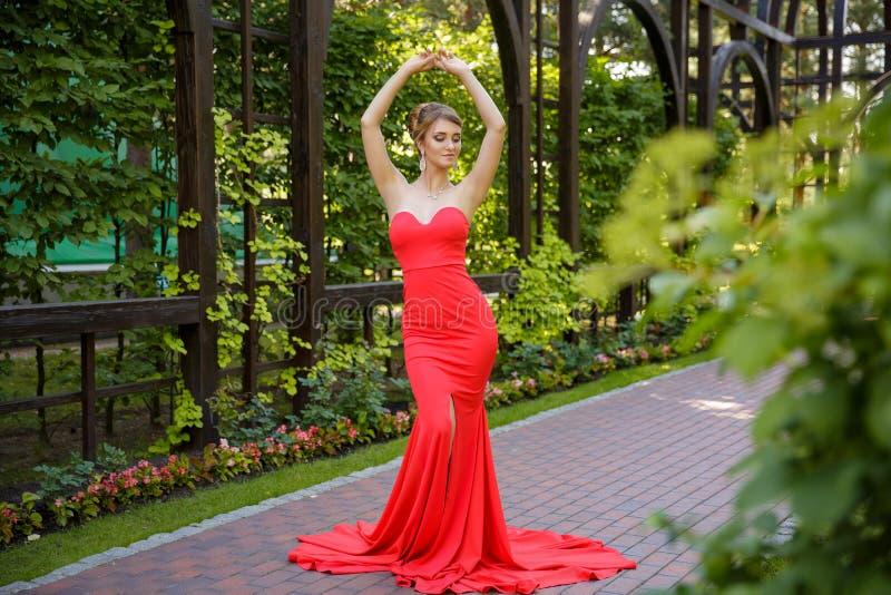 Retrato rubio joven de la mujer que lleva el vestido rojo elegante en las manos de madera en pelo foto de archivo