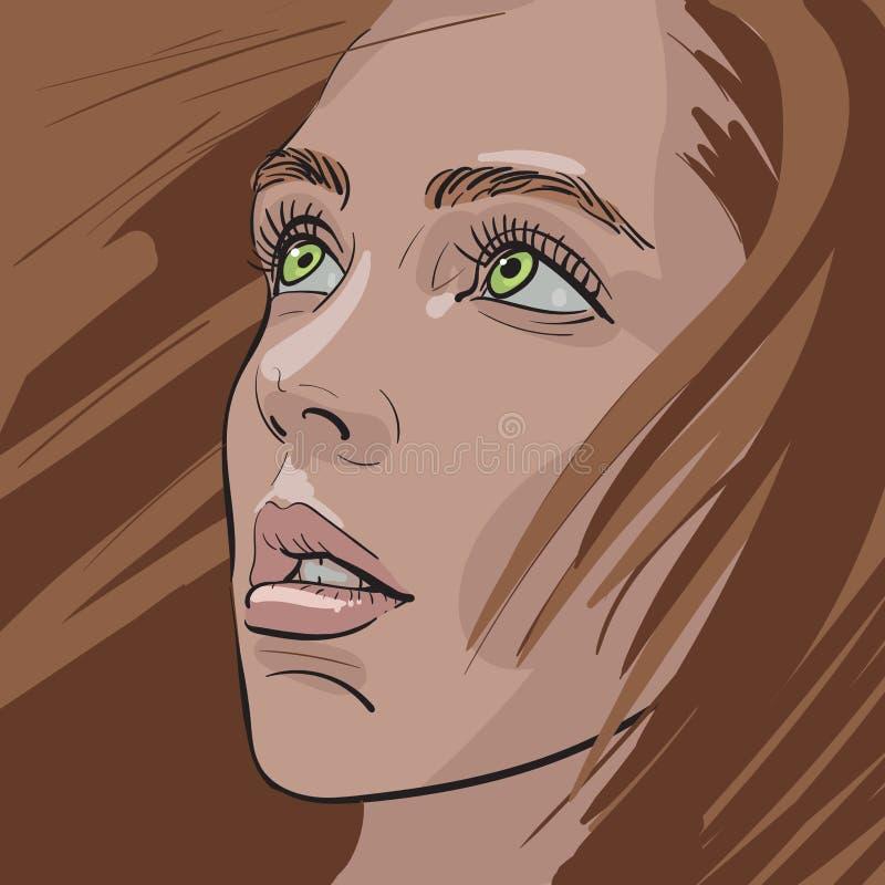Retrato ruivo da menina Estilo dos desenhos animados Ilustração ilustração royalty free