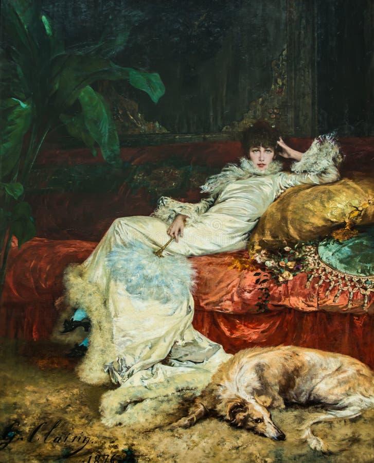 Retrato Sarah Bernard de Jugendstil del art nouveau ilustración del vector