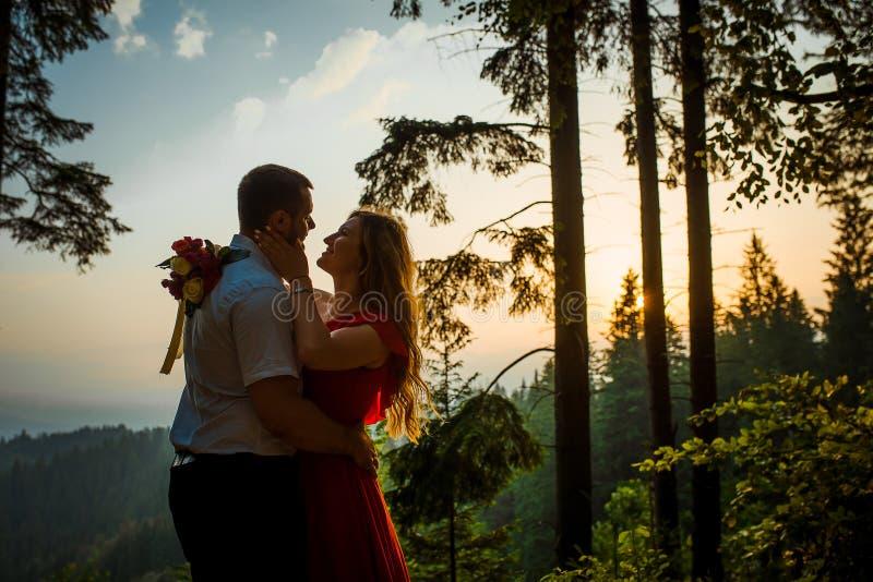Retrato sensual de la mujer rubia hermosa con la sonrisa encantadora que frota ligeramente blando la cara de su novio de abrazo fotos de archivo
