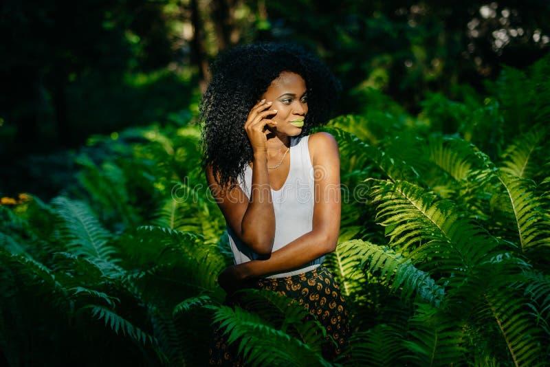 Retrato sensual del modelo africano joven de fascinación con el maquillaje verde que mira a un lado que está entre helechos Verde imágenes de archivo libres de regalías