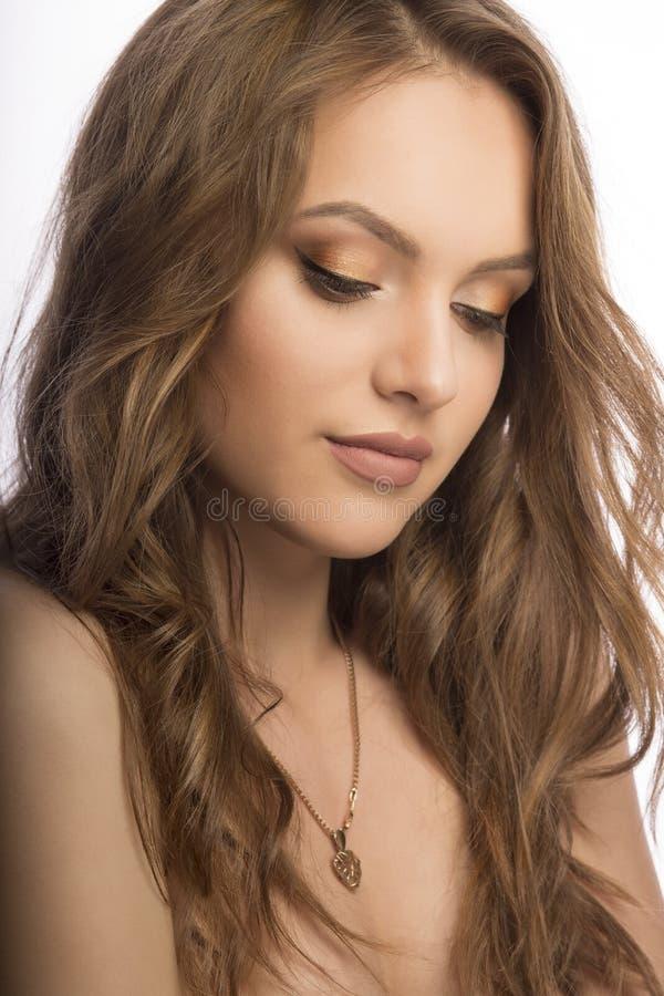 Retrato sensual do modelo modelo novo com a composição diária fresca foto de stock royalty free