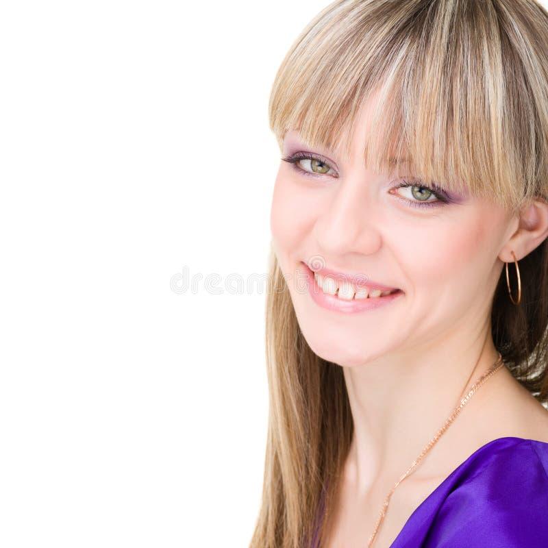 Retrato sonriente de la mujer feliz imagen de archivo