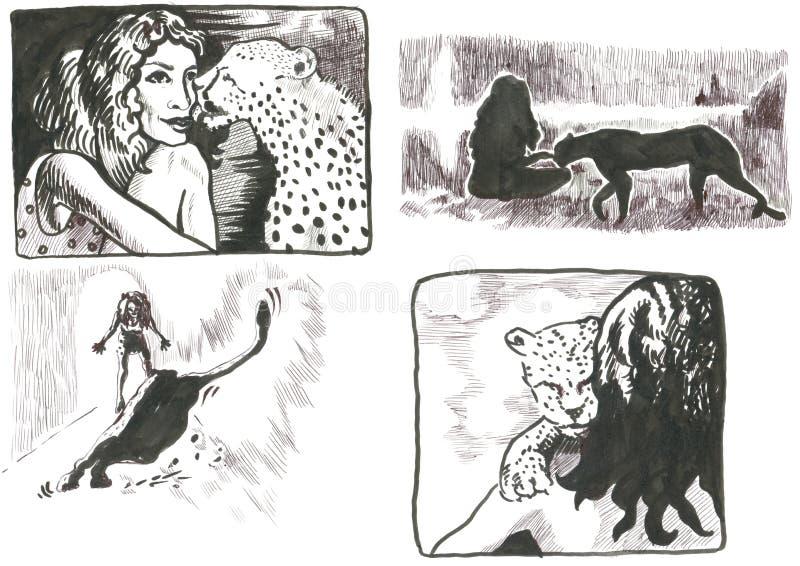 Retrato subterrâneo do comix ilustração royalty free