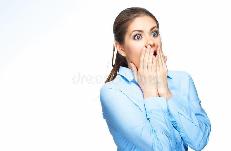 Retrato surpreendente da mulher de negócio isolado no branco fotos de stock