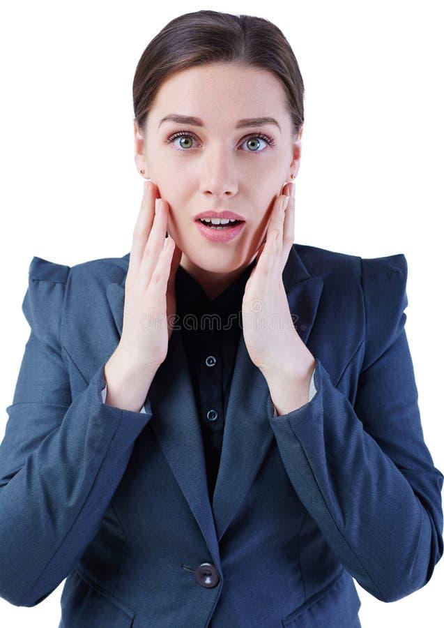 Retrato surpreendente da mulher de negócio isolado no fundo branco foto de stock royalty free