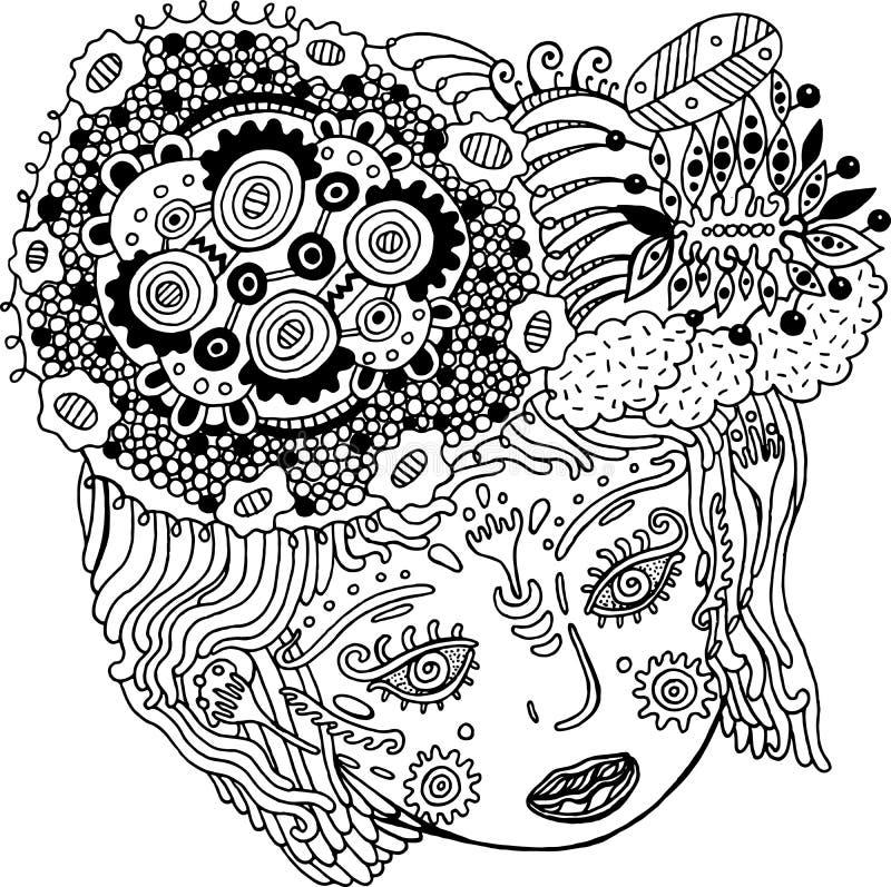 Retrato surrealista de la muchacha del cuento de hadas Cabeza del ` s de la mujer del garabato con el pelo libre illustration