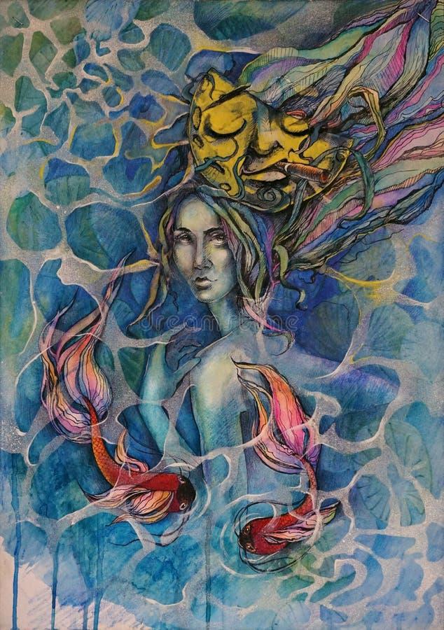 Retrato surrealista de la mujer atractiva joven con los pescados del oro subacuáticos en agua con tinta y la luna stock de ilustración