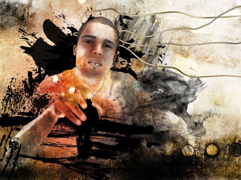 Retrato surrealista del hombre del grunge ilustración del vector