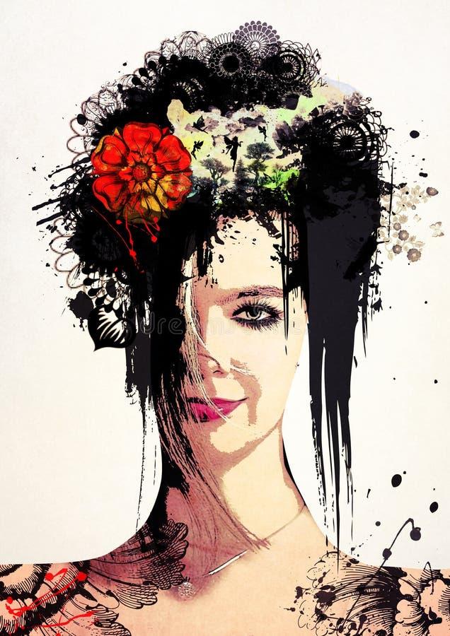 Retrato surrealista elegante de una muchacha ilustración del vector