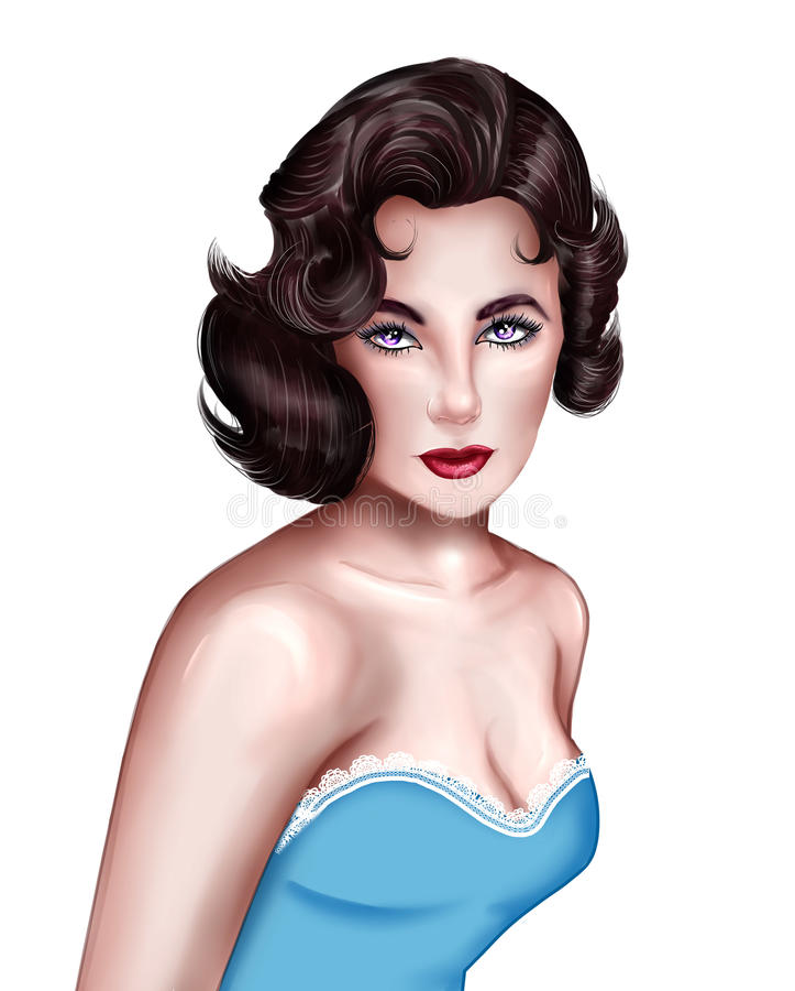 Retrato tirado mão da atriz Elizabeth Taylor ilustração royalty free