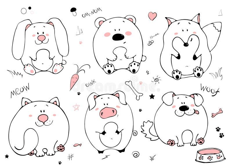 Retrato tirado mão do animais gordos engraçados bonitos Grupo de objetos isolados no fundo branco Ilustração do vetor com coelho, ilustração do vetor