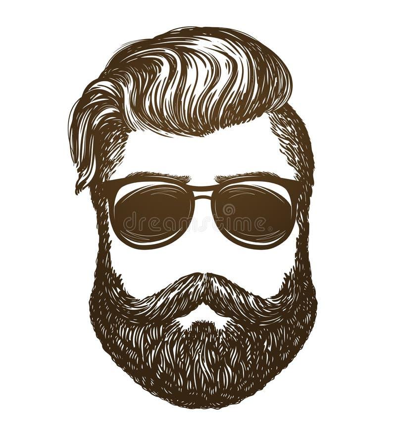Retrato tirado mão do homem com barba Moderno, esboço dos óculos de sol Ilustração do vetor do vintage ilustração do vetor