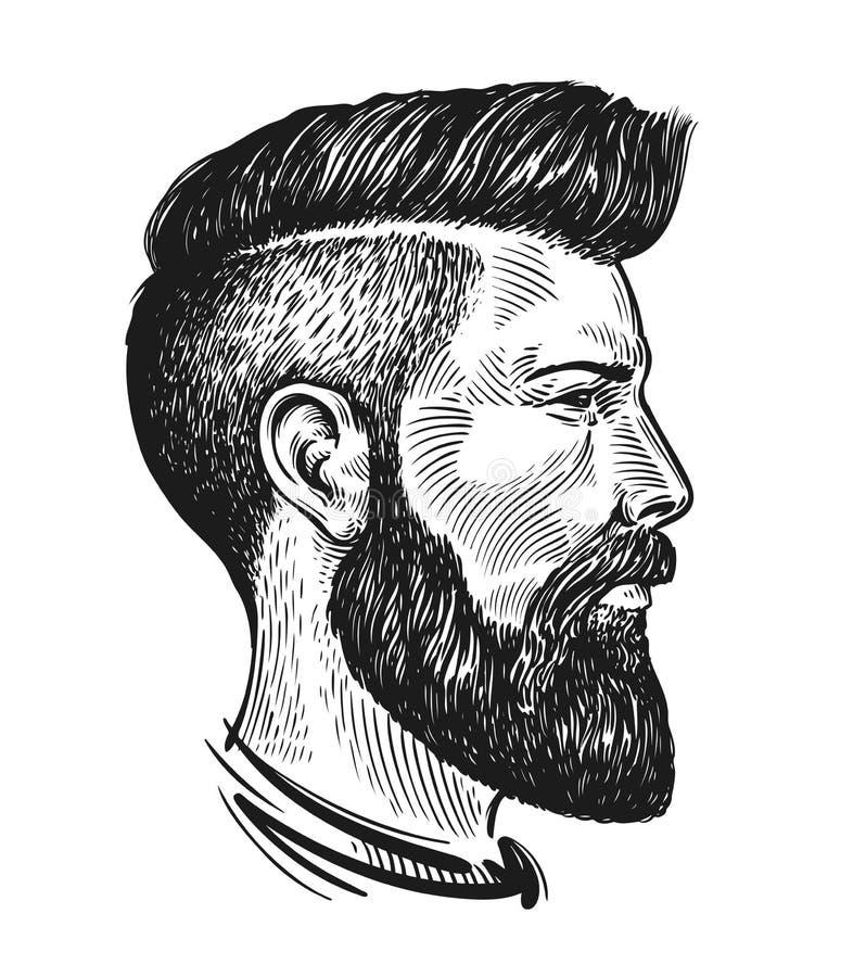 Retrato tirado mão do homem no perfil Esboço do moderno Ilustração do vetor do vintage ilustração royalty free