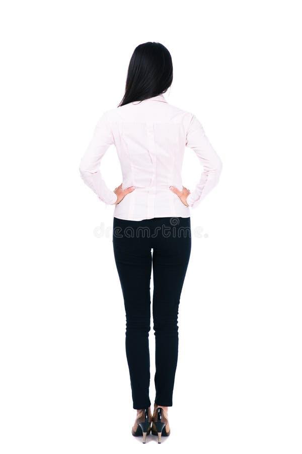 Retrato traseiro da vista de uma mulher de negócios foto de stock