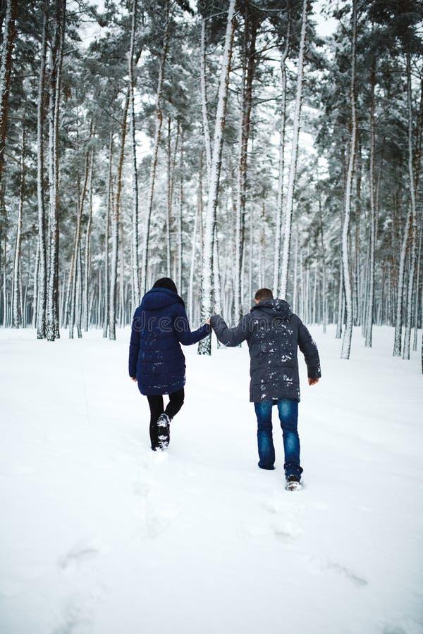 Retrato trasero al aire libre de la visión del hombre alegre y de la muchacha bonita que disfrutan de las nevadas en bosque del i foto de archivo libre de regalías