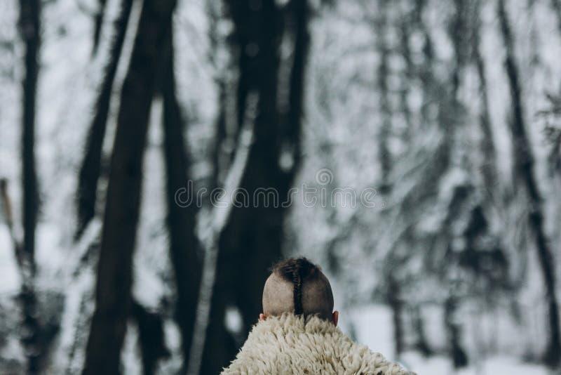 Retrato trasero de la visión del guerrero fuerte de vikingo con corte de pelo del mohawk fotos de archivo