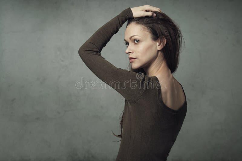 Retrato triguenho bonito da mulher foto de stock