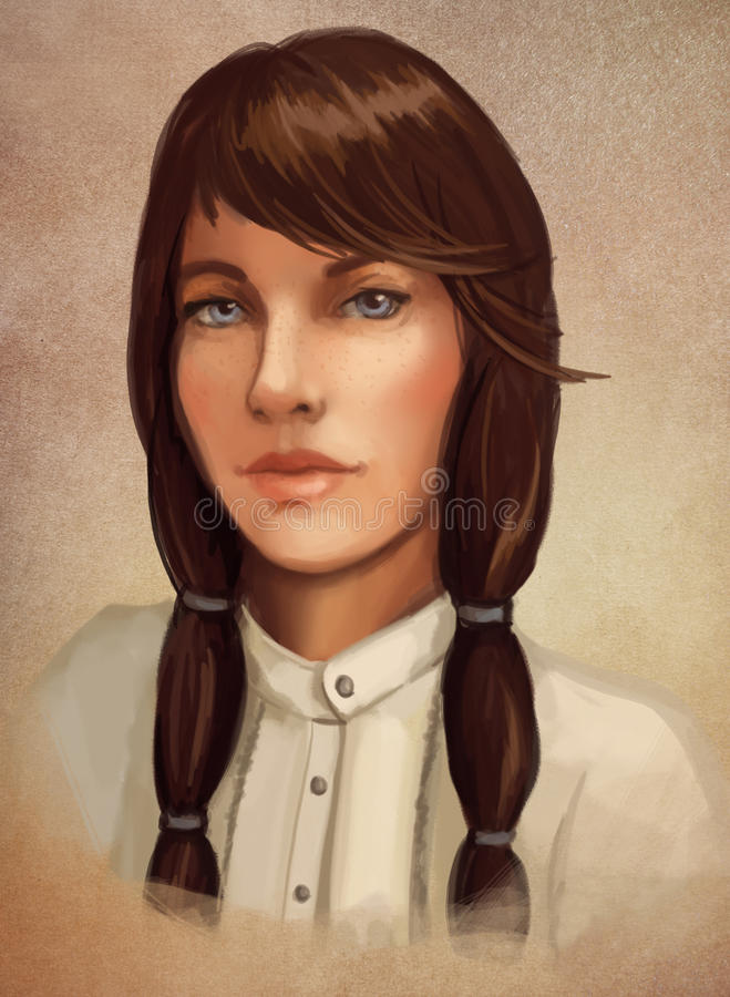 Retrato triguenho novo da mulher ilustração stock