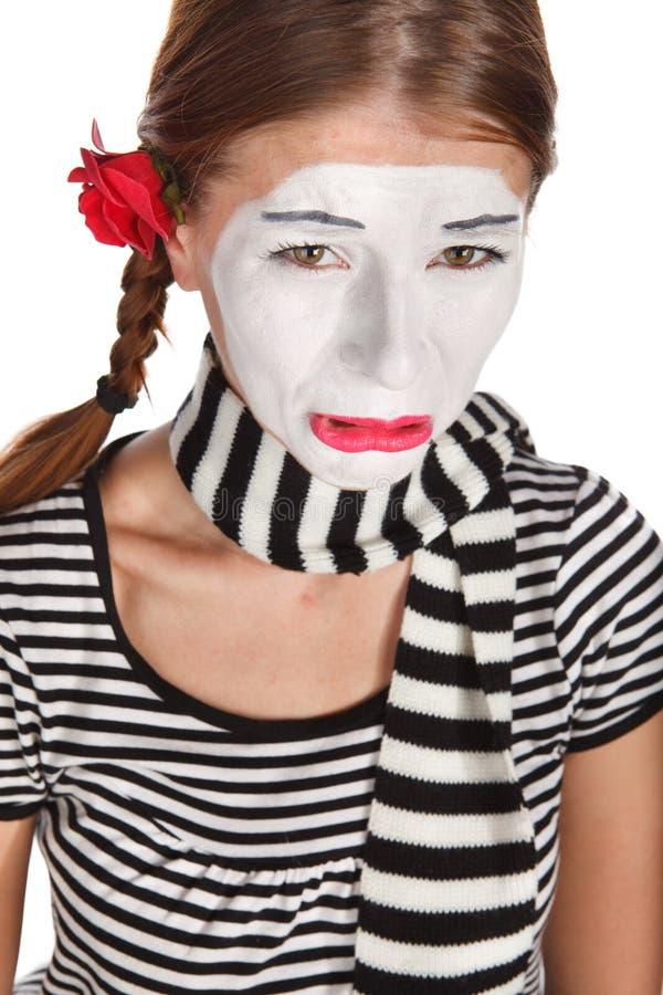 Retrato triste del mime foto de archivo