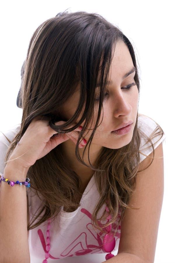 Retrato triste joven de la muchacha foto de archivo libre de regalías