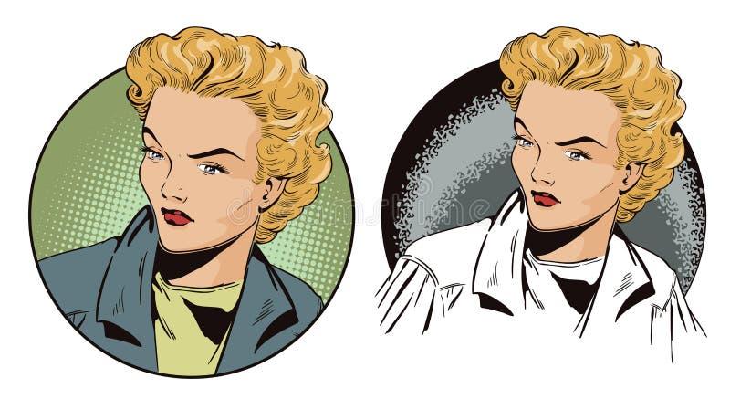 Retrato una muchacha de sueño Gente en estilo retro stock de ilustración