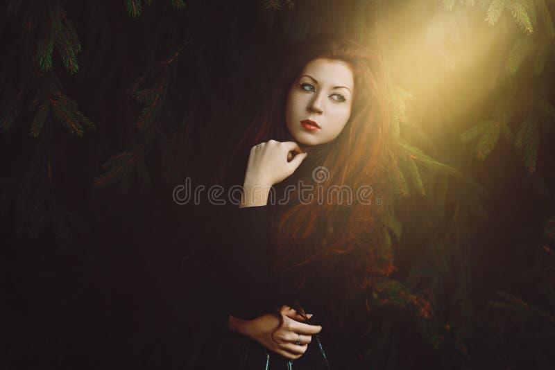 Retrato vermelho bonito da mulher do cabelo imagens de stock