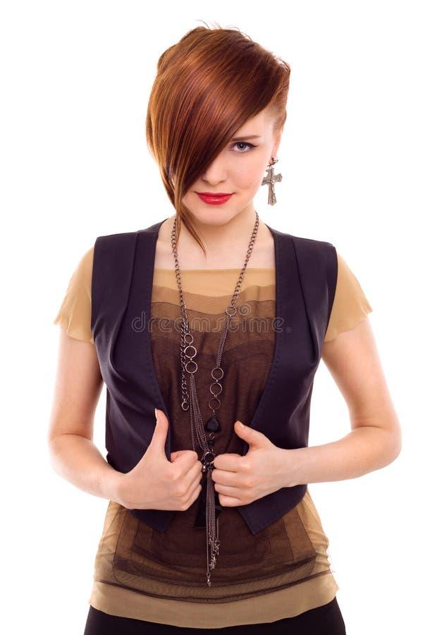 Retrato vermelho bonito do estilo da mulher do cabelo isolado imagens de stock