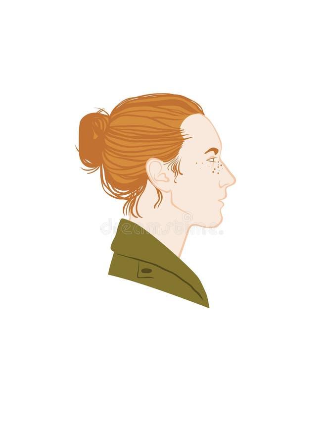 Retrato vermelho do perfil da menina do cabelo Cabelo vermelho, revestimento verde ilustração stock