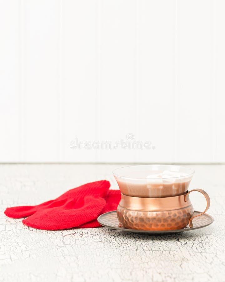 Retrato vermelho dos mitenes do chocolate quente foto de stock royalty free