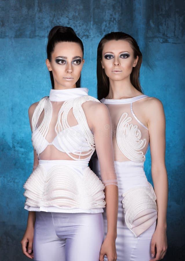 Retrato vertical de duas jovens mulheres em vestidos modernos fotografia de stock
