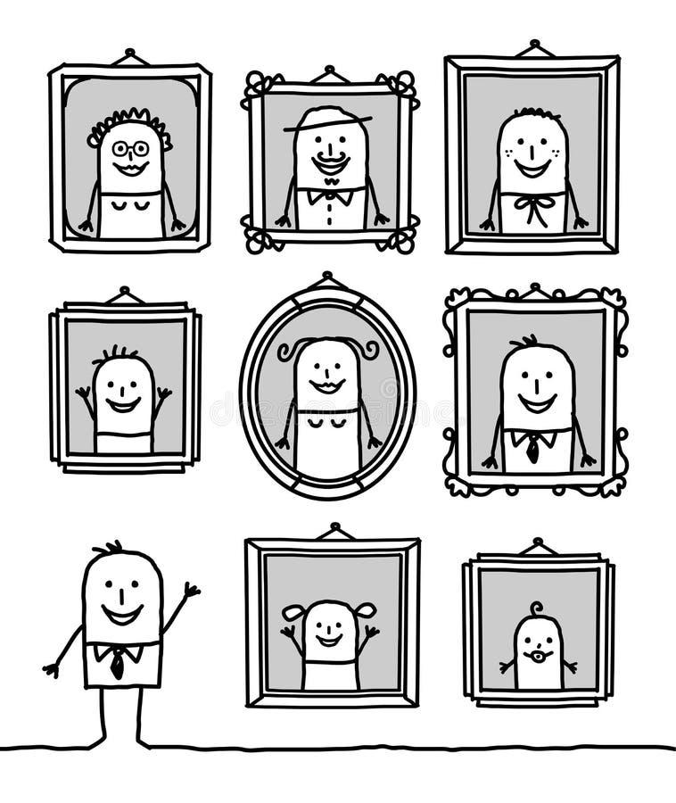 Retratos da família ilustração royalty free