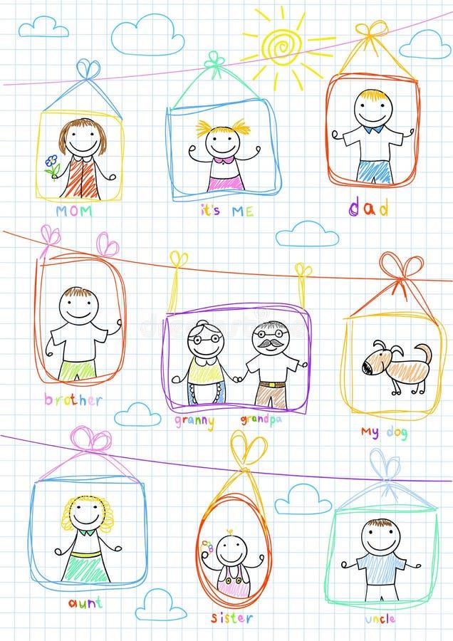 Retratos da família feliz ilustração stock