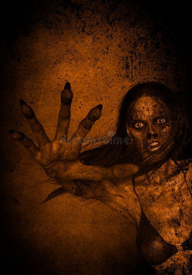 Retratos da mulher irritada assustador de Ghost na obscuridade ilustração royalty free