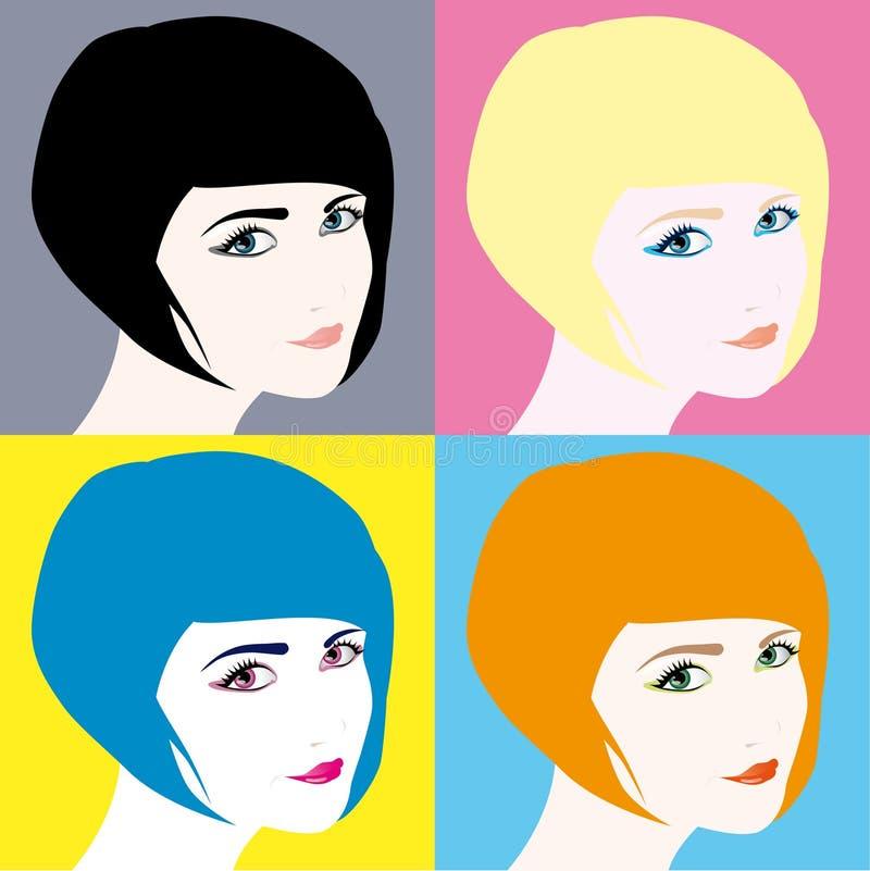 Retratos das meninas ilustração stock