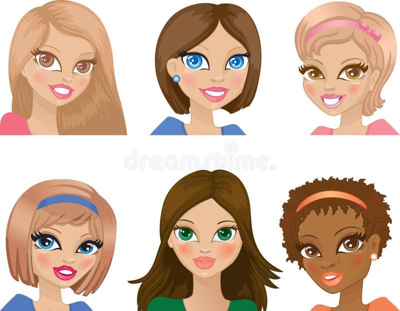 Retratos das raparigas ilustração royalty free