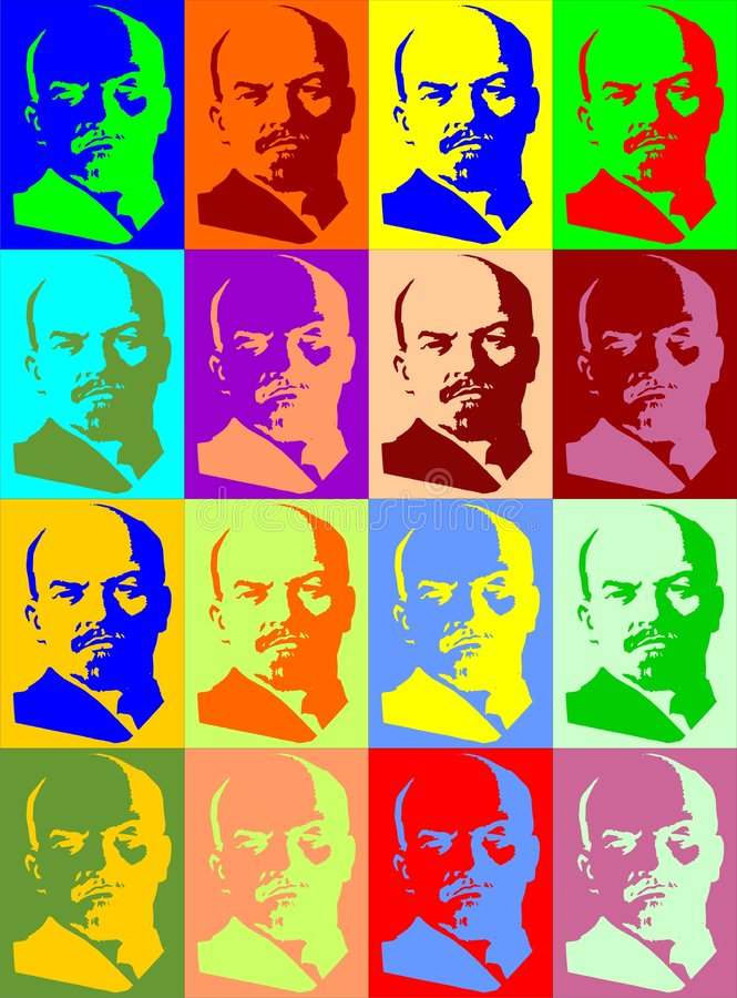 Retratos de Lenin stock de ilustración