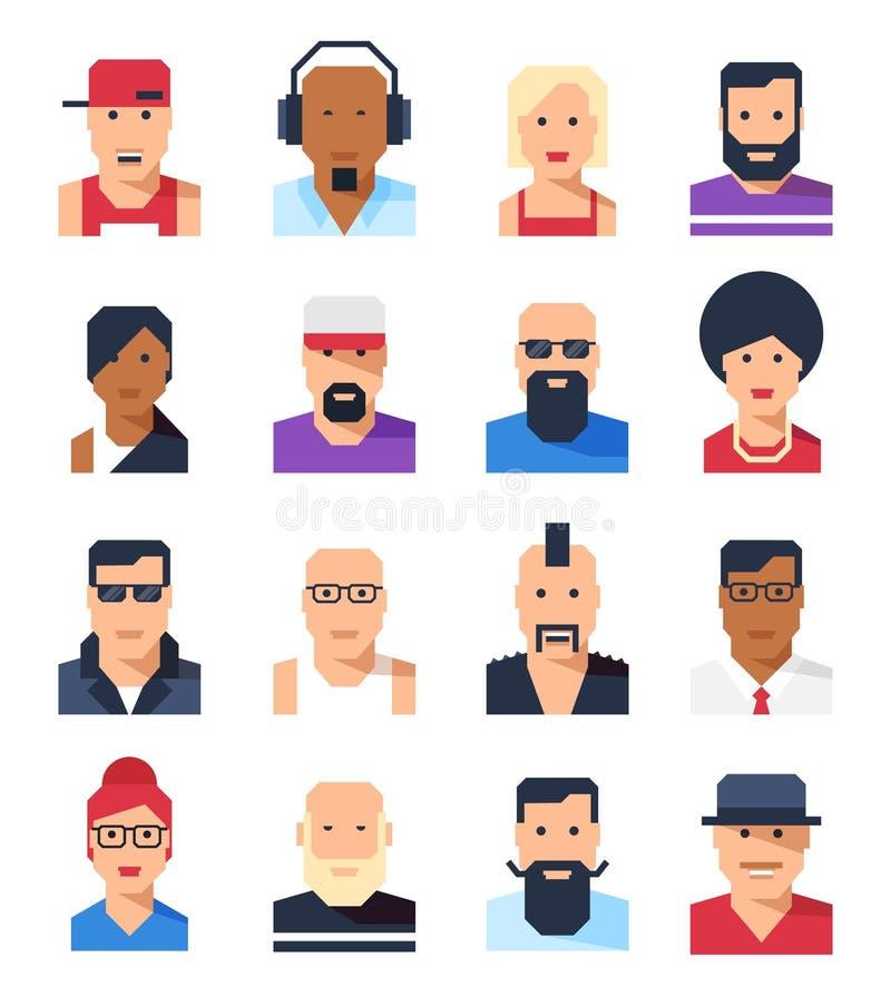 Retratos de los avatares de la gente La historieta abstracta hace frente en estilo plano stock de ilustración