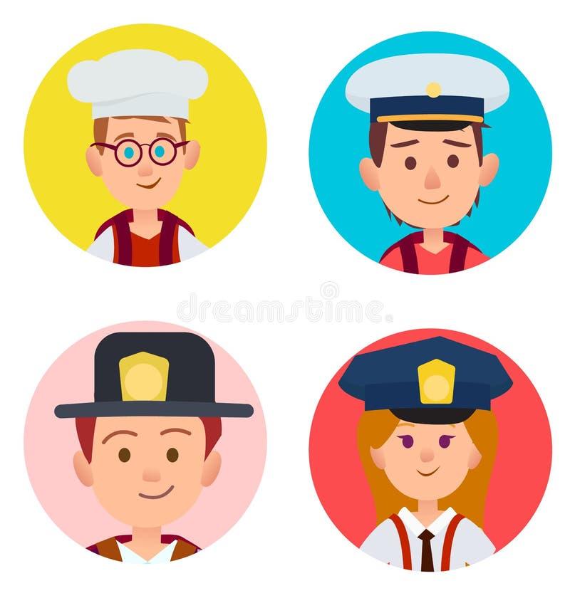 Retratos de los niños de empleos adultos cuatro iconos libre illustration