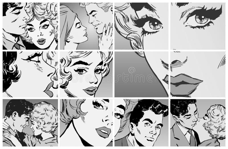 Retratos de pares jovenes en amor stock de ilustración