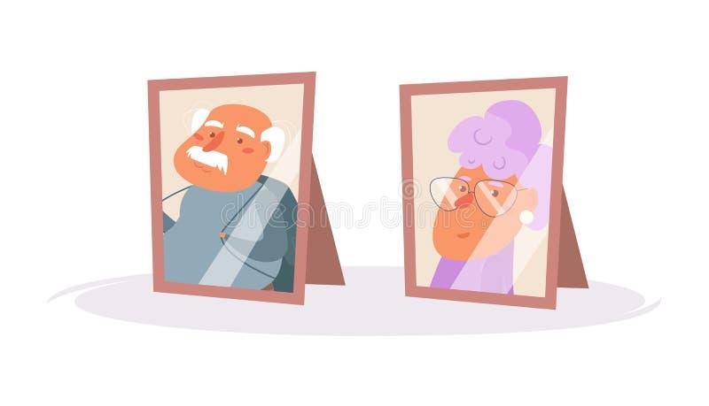 Retratos de pares mais velhos Vetor das molduras para retrato cartoon Arte isolada no fundo branco liso ilustração stock