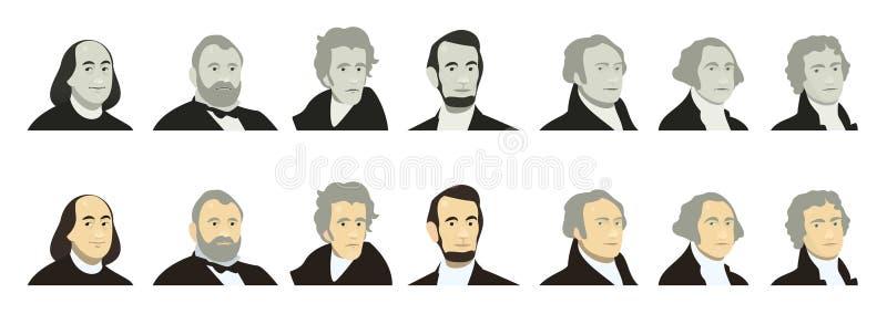 Retratos de presidentes dos E.U. e de políticos famosos Estilizado como no dinheiro das cédulas do dólar americano dos EUA George ilustração do vetor