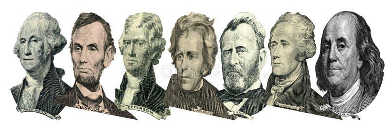 Retratos de presidentes y de pol?ticos de d?lares fotos de archivo libres de regalías