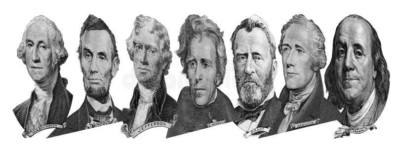 Retratos de presidentes y de pol?ticos de d?lares imagen de archivo