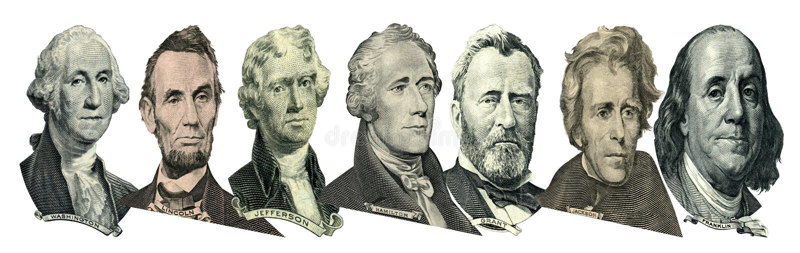 Retratos de presidentes y de pol?ticos de d?lares fotografía de archivo