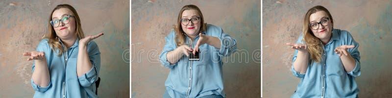 Retratos del collage de la mujer atractiva del tamaño extra grande que hace que las emociones se pregunten con el teléfono a disp fotografía de archivo